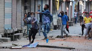 Street protest of stone-pelters in Kashmir