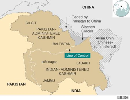 Jammu and Kashmir map. Insight on Kashmir
